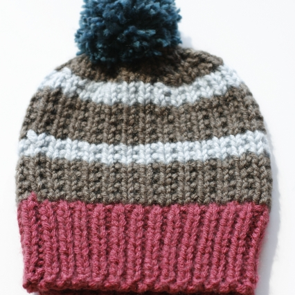 Women's Hand-Knit Striped Winter Hat with Pom-Pom