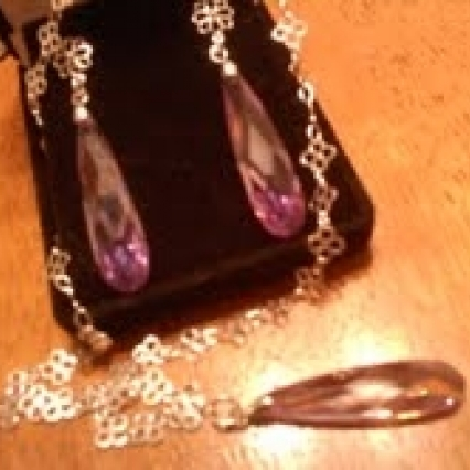 80% off 925 MARKED STERLING SILVER Cz AMETHYST LONG TEAR DROP NECKLACE & EARRING SET SHIPS FREE