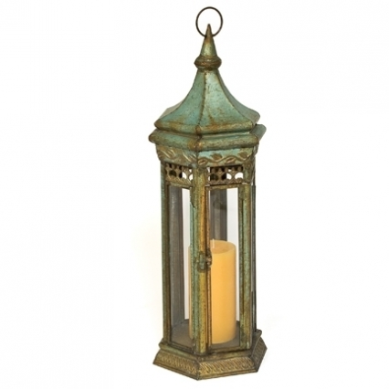 Hexagonal Verdigris Tin Candle Lantern