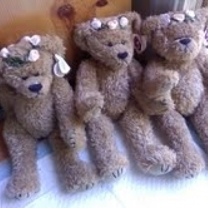 "JOINTED BEAR,The Attic Treasure Collection Large Bears ""Eve"" by TY roses on her W TAG FREE SHIPPING"