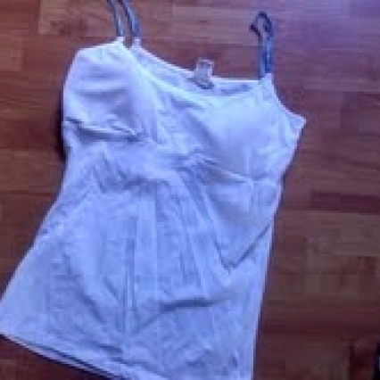 BRAND NEW LOVE ROCKS, XLARGE JR WHITE BUILT IN BRA TANK TOP, FREE SHIPPING