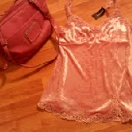 BRAND NEW W TAGS, EXPRESS SMALL ROSE VELVET & LACE MATCHING ROSETTI PURSE! FREE SHIPPING!