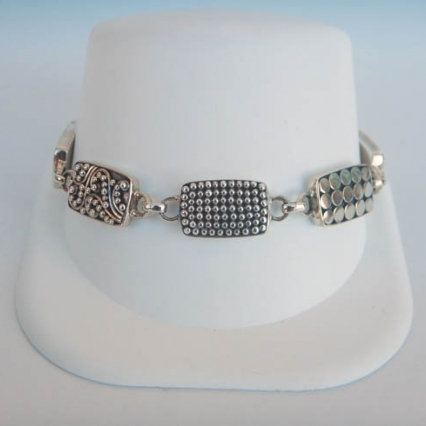 Patterned Sterling Silver Bracelet