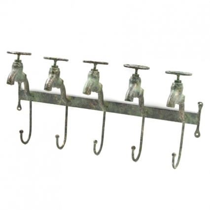 Decorative 'Water Faucet' five hook metal wall hanger