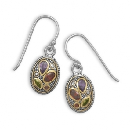 Platinum finished sterling silver & 14K gold accented earrings