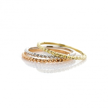 3 piece 14K gold stackable rings