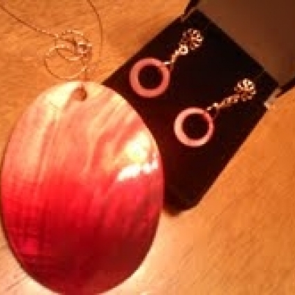 SUPER LARGE BURNT ORANGE GENUINE SHELL NECKLACE & EARRING SET, ROSE GOLD 14KT, NEW! FREE SHIPPING!