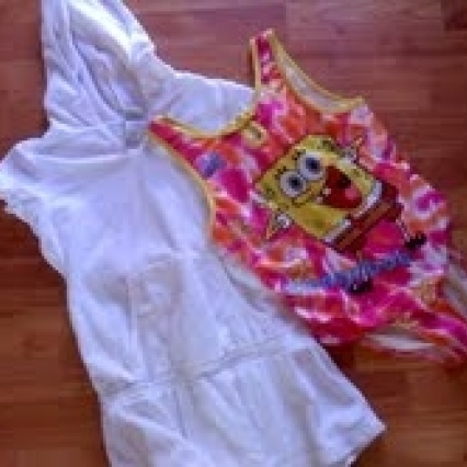 SPONGE BOB SQUARE PANTS SIZE 10/12 BATHING SUIT & TERRYCLOTH COVER & WATCH WITH TIN, FREE SHIPPING