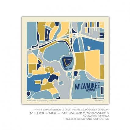 Miller Park Milwaukee Wisconsin 12x12 Print