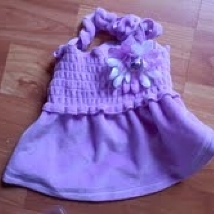 BRAND NEW SMOOTCHI POO XS DOGGIE DRESS WITH FLOWER, PURPLE, FREE SHIPPING!