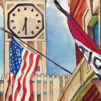 Allen Bradley Clock Tower Watercolor 8x10 Print
