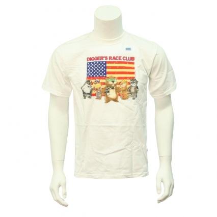 Fox sports nascar digger 39 s race club large white tee shirt for T shirt printing visalia ca