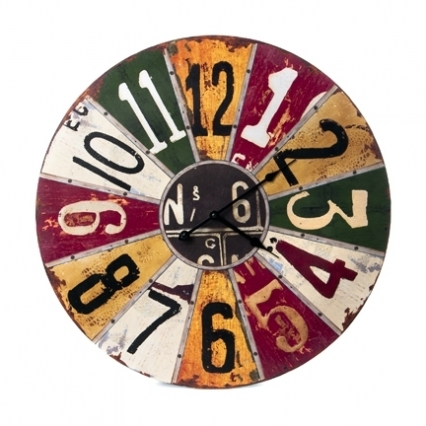 Colorful Primitive Folk Art Wall Clock