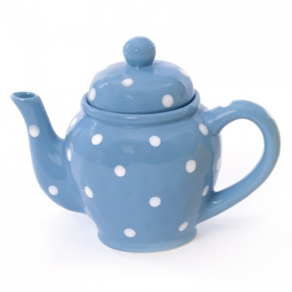 Ceramic Teapot - Blue w/ White Polka Dots
