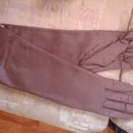 VINTAGE VAN RAALTE LONG BROWN NYLON GLOVES, FROM 1950'S WITH TAGS! FREE SHIPPING