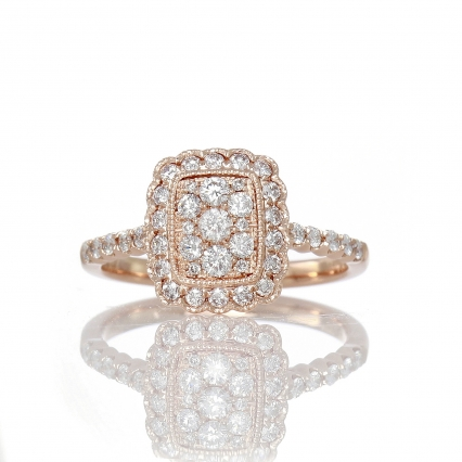 14K rose gold halo cluster ring