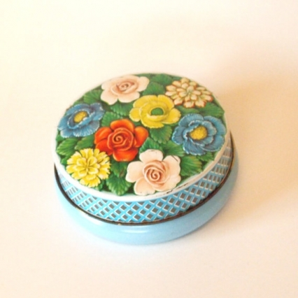 ANTIQUE RILEY'S TOFFEE TIN FROM MID CENTURY ENGLAND, ROSES THEME, FREE SHIPPING