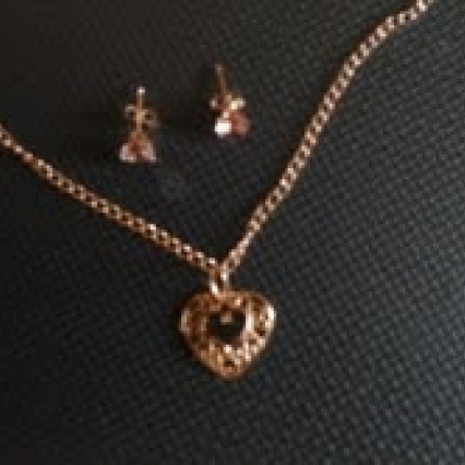 Rose gold necklace and earrings