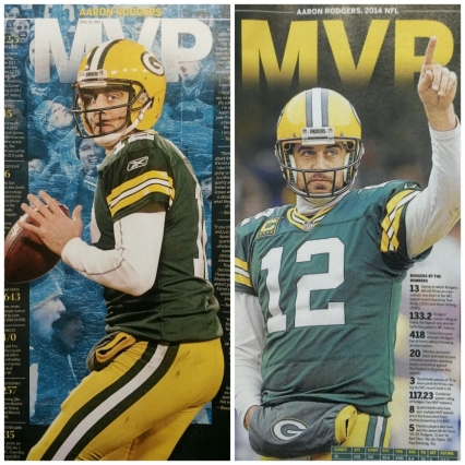 2011 and 2014 Aaron Rodgers MVP Posters (2 posters)