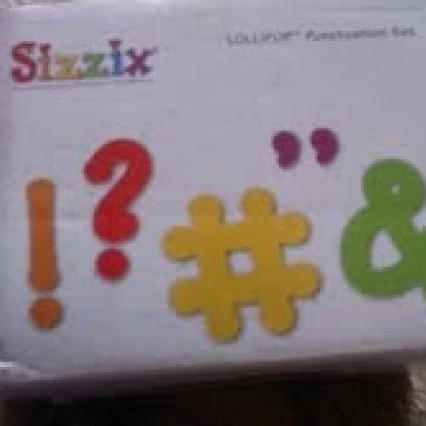 BRAND NEW IN BOX, SEALED, SIZZIX LOLLIPOP PUNCTUATION SET WITH 5 DIES, FREE SHIPPING
