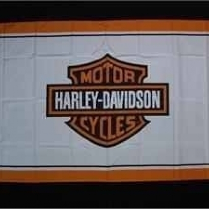 H D Motorcycle 3 X 5 Ft Flag With White Back Ground
