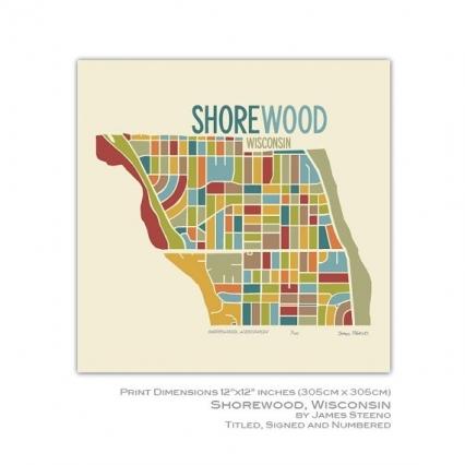 Shorewood Wisconsin 12 X 12 Art Map